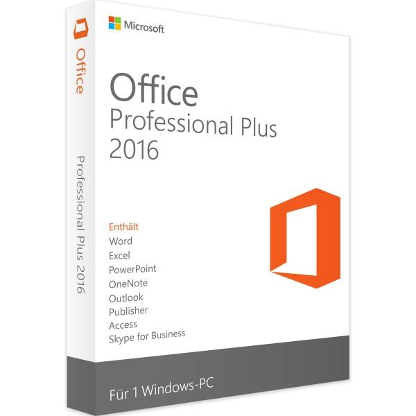 Microsoft Office 2016 Professional Plus | für Windows 1 - 5 Benutzer
